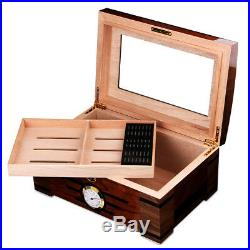Glass Top Desktop Cigar Humidor storage case cedar wood cigar box CH-1012