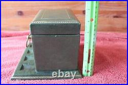 Green Humidor Vintage brass rings pipe stand holder hinged box Aztec Moistener