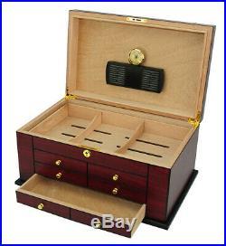Hand Made 100+ CT Count Cigar Humidor Humidifier Wooden Case Box Hygrometer nin