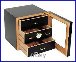 Hand Made 100+ Count Cigar Humidor Box Cabinet Matt Black Humidifer Hygrometer X