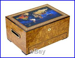 Hand Made 120+ Count Cigar Humidor Box Cabinet Cedar Humidifier Hygrometer Map