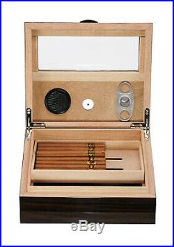 Hand Made 25 CT Count Cigar Humidor Humidifier Wooden Case Box Hygrometer II