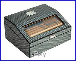 Hand Made 50+ Count Cigar Humidor Box Cabinet Carbon Fiber Humidifier Hygrometer