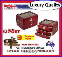 Hand Made 75 Count Cigar Humidor Box Wood Spanish Cedar Humidifer Hygrometer 3A