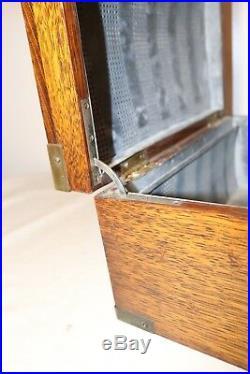 High quality antique handmade wood brass cigar tobacco humidor holder box case