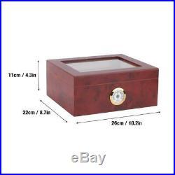 Humidor Cedar Wood Cigar Moisturizing Box With Humidifier Hygrometer Glass Top