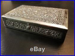 LARGE ANTIQUE. 900 SILVER ANGKOR HAND CHASED BOX cigar humidor 245 grams