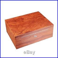 LUBINSKI Cedar Wood Cigar Humidor Box Cabinet Humidifier Hygrometer Storage Case