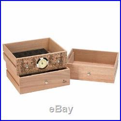 LUBINSKI Cedar Wood Cigar Humidor Case Box 3 Drawer Cabinet Humidifier 100 Cigar