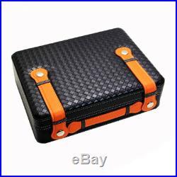 LUBINSKI Cigar Humidor Humidifier Box Leather Cedar Wood Handbag Case 40 Cigars