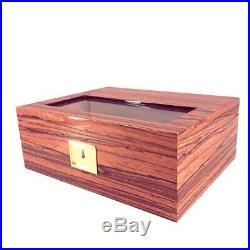 LUBINSKI Solid Cedar Wood Glasses Cigar Humidor Case Box Humidifier Hygrometer