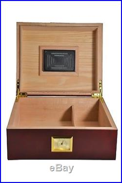 La Madera Cubana Cherry Humidor Oak Cigar Humidor with Humidifier & Hygrometer