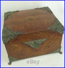 Large Antique 1880s Victorian Tiger Oak & Brass Cigar Box / Humidor