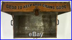 Large Antique BUCK CIGAR Humidor Chest, Tin & Wood, RARE Trunk, King Of The Range