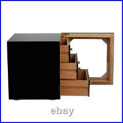 Large Capacity Wood 3 Drawer Cigar Humidor Cabinet Box Humidifier Hygrometer