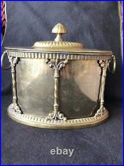 Large Vintage Ornate Neoclassical Brass Humidor Tobacco Designer Snuff Stash Box