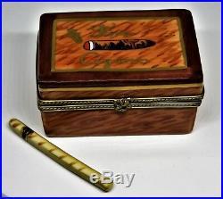 Limoges France Box Rochard Wooden Cigar Humidor & Cigar Tobacco Leaf Clasp