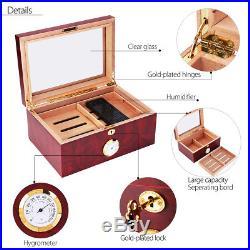 Lined Leather Cedar Wood Cigar Humidor Case Box With Hygrometer Humidor Lock