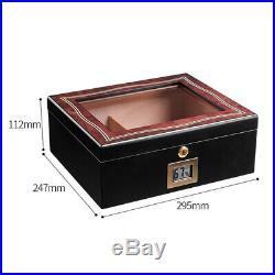 Lockable 50-70 Cigar Humidor Desktop Glasstop Storage Box Humidifier Hygrometer
