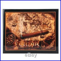 Lockable Wood Cigar Humidor Storage Box Desktop Cigar Case+Humidifier Hygrometer