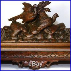 Lrg Antique Black Forest Desk Cigar Cabinet, Chest, Box not Humidor, Game Birds