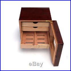 Luxury 4-Layer Cedar Wood Cigar Humidor Storage Box Case & Humidifier Hygrometer