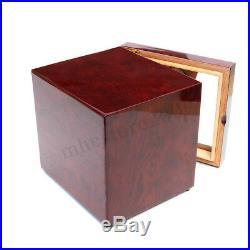 Luxury 60-Cigars Cedar Wood Cigar Humidor Humidifier Hygrometer Storage Box