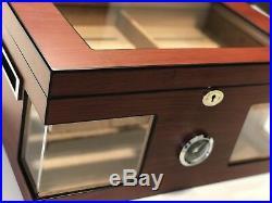 Luxury Cigar Humidor Box 100 Cedar Wood Acrylic Glass Windows Cherry Humidifier