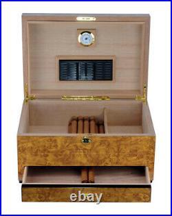 Luxury Cigar humidors World Map glossy Golden Oak Spanish cedar cigars box 18c