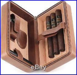 Mrs. Brog Leather Cigar Humidor Case Cedar Wood Box Atmosphere Leather Brown