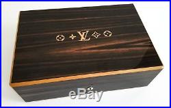 NEW LOUIS VUITTON Super Rare Wooden Humidor 75 Cigar Box Case with Gold Hardware