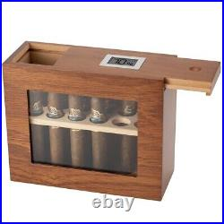 New Cigar Box Wooden With Hygrometer Humidifier Portable Glass Window Humidor Ceda