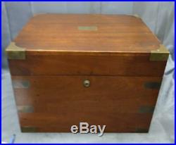 Old Antique Mahogany Brass Large Cigar Tobacco Smoking Humidor Box 1906 Case Big