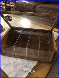 PARTAGAS MACANUDO HUMIDOR Cigar Glass Store Display Box Vintage
