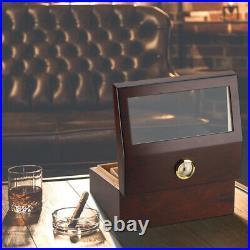 PIPITA Ceder Wood Cigar Humidor Box With Hygrometer Cigar Cases Hold 60-70 cigar