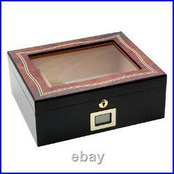 PIPITA Lockable 50-70 Cigars Humidor Storage Box Glasstop Humidifier Hygrometer