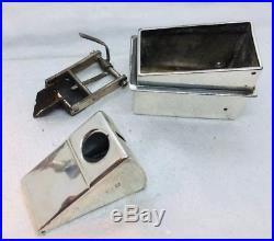 Padgett & Braham Antique English Sterling Silver Cigar Humidor Box & Extras 55oz