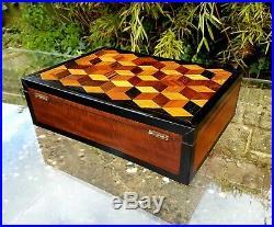 Parquetry geometric Box, Tumbling Blocks, Jewellry or Humidor