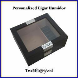 Personalized Cigar Humidor Hygrometer & Humidifier Box Holds 25-50 Cigars
