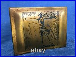 RARE Rockwell Kent Brass Cigar Box, Art Deco Engraved Lady by A G Spaulding