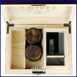 RYOT Humidor Walnut Combo Box 8 x 11 Seamless Black Glass Base Tray USA