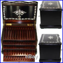 Rare Antique French 12 Tantalus Style Cigar Chest or Box, Ebony & Ornate Inlay