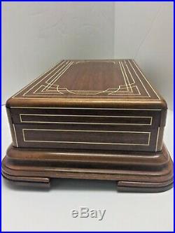 Rare Antique Inlaided Art Deco Cigar Humidor La Nacional Havana Cuba Box 1920