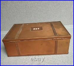 Rare Arts & Crafts Copper Humidor Wooden Cigar Box