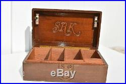 Rare Carved Wood Cigar Humidor/box, Carved Seal Of Connecticut, Coat Of Arms