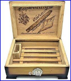 Rare Habanos Montecristo Habana Empty Wooden Humidor Tobacco Cigar Box