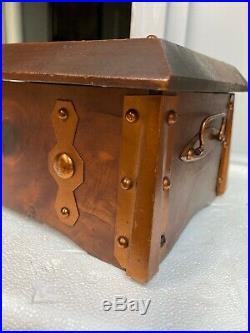 Rare Humidor W Lux Wind Up Clock Cedar Chest #385 1924 Cigar Box By Sturdi USA