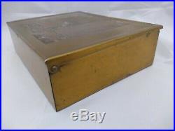 Rare Rockwell Kent'Sally' Art Deco Brass Cigar Box Humidor