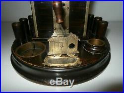 Rare + Unusual Antique Cigar Novelty Desk Stand House Cutter Vesta Striker c1890