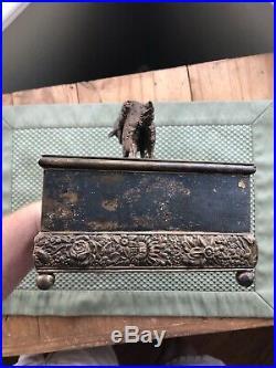 Rare Vintage Meriden Silver Plate Cigar Cigarette Box Humidor Hunting Dog